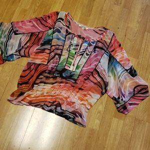 Daniel Rainn XL multicolor semi sheer top